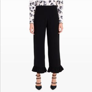 Club Monaco Black Silk Ruffle Hem Brionia Pants